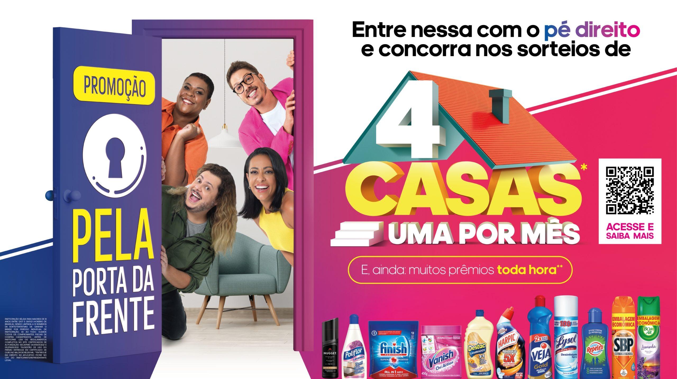 """Promoção """"Pela Porta da Frente"""" da Reckitt Hygiene vai sortear quatro casas e prêmios de até R$ 1 mil a cada hora"""